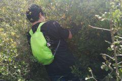 Cortando arbustos que nos dificultaban la salida