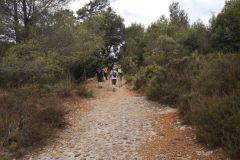 """Hacia Montserrat (por la """"dreçera del Fra Garí"""") y a la cova de les Arnes pasado el banco de piedra a la izquierda"""